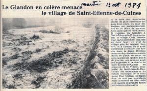 article journal crue du Glandon 1981